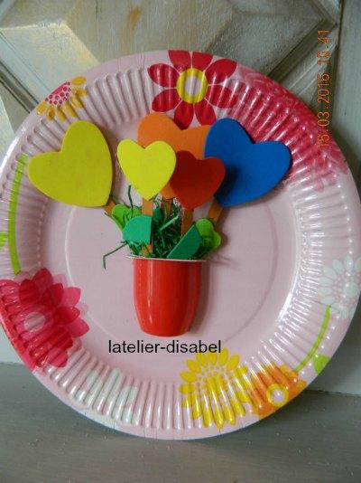 cadre avec assiette de carton,vase de fleurs ,activité de printemps