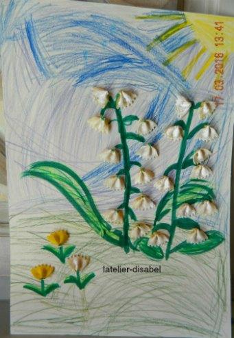 fleurs clochettes avec des nouilles